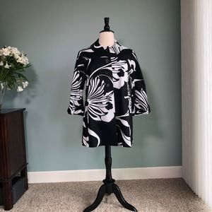 INC floral graphic black and white jacket XL